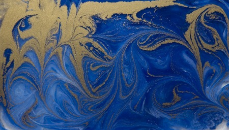 marbling: Blue and golden liquid texture, watercolor hand drawn marbling illustration, abstract background.