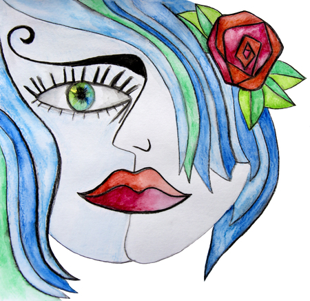 blue hair: Watercolor abstract girl with red flower in her blue hair.