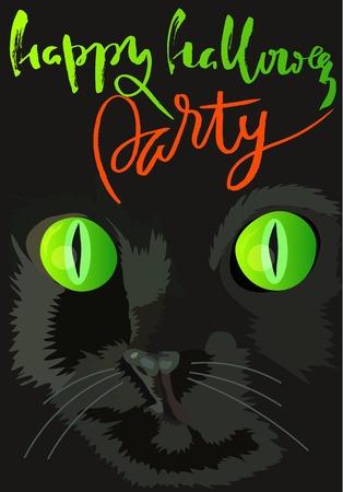 Halloween black cat with green eyes. Halloween handwritten lettering.