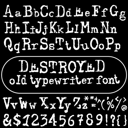 old typewriter: old typewriter font. Vintage font. Old grunge font.