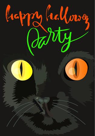 ojos negros: Gato negro de Halloween con ojos de color. las letras escritas a mano Halloween. Ilustración del vector. Vectores