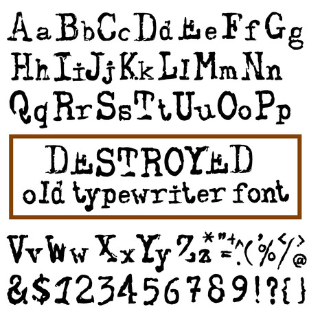 old typewriter: Vector old typewriter font. Vintage font. Old grunge font. Vector illustration