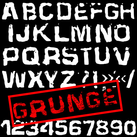 screen printing: Grunge vector retro font. Stamped type, white destroyed letters on black background.