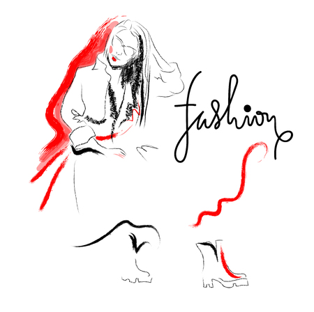 Fashion sketch drawing girl. Black and red illustration