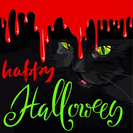 halloween black cat: Happy Halloween Black Cat Cute Vector Design.