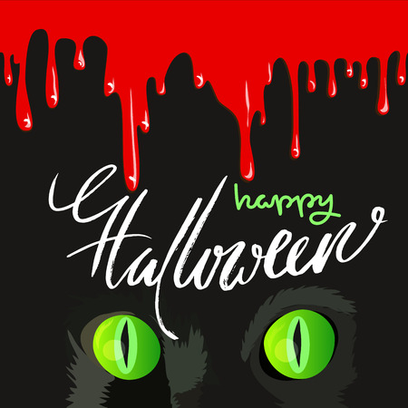 halloween black cat: Happy Halloween Black Cat Cute Design. blood drops.