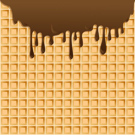 melting chocolate: background with melting chocolate on wafer. Illustration