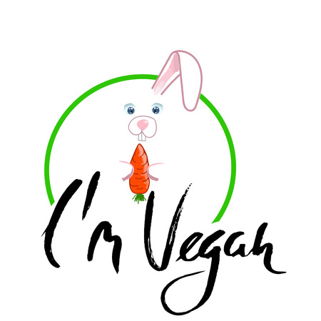 Rabbit with ribbon and carrot. I am vegan lettering. illustration Illustration