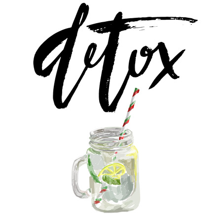 well being: illustration of vegan detox smoothie. healthy drink made of lemon. Isolated on white