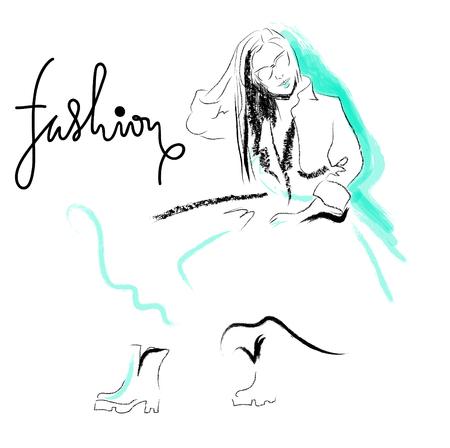 Fashion sketch drawing girl.  illustration Illustration
