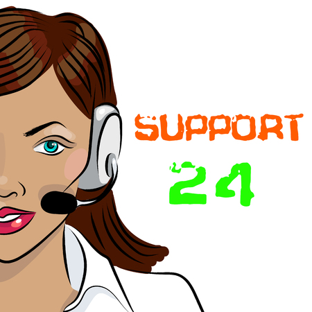 callcenter: Round-the-clock telephone support. Woman dispatcher. illustration. Support 24