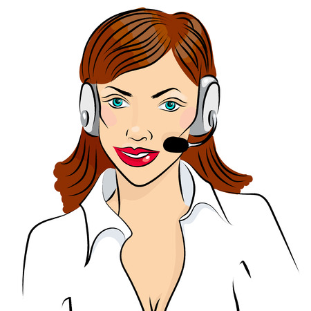 illustration of smiling cute woman working as telephone operator.
