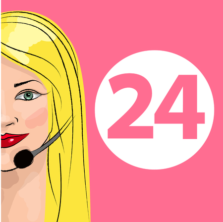 dispatcher: Round-the-clock telephone support. Woman dispatcher. Vector illustration. Support 24 Illustration