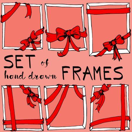 Set of frames with bows. Vector illustration. Illustration