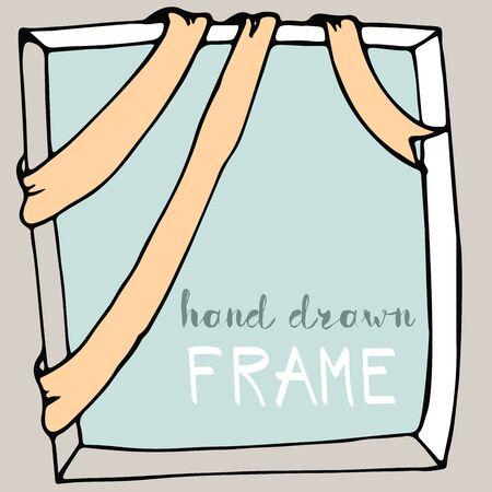 Hand drawn frame. Bow and ribbon border. Vector illustration