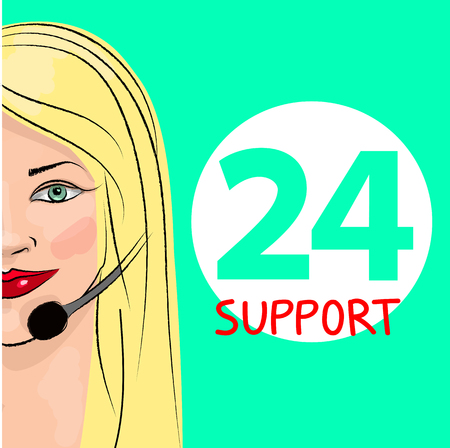Round-the-clock telephone support. Woman dispatcher. Vector illustration. Support 24 Illustration