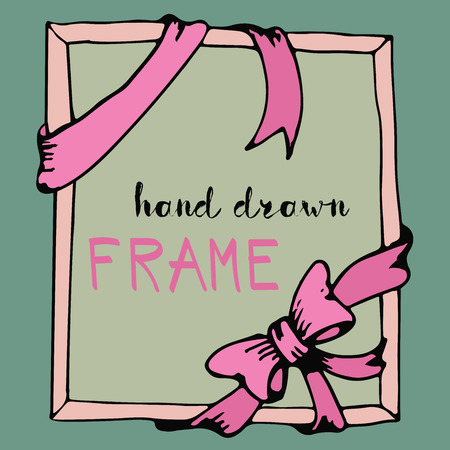 pink bow: Hand drawn frame. Pink bow and ribbon border. Vector illustration Illustration