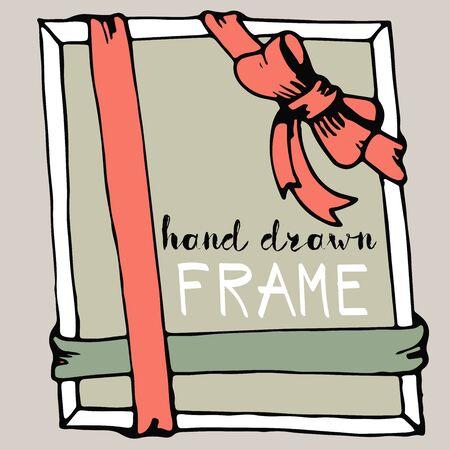 Hand drawn frame. Pink and green bow and ribbon border. Vector illustration