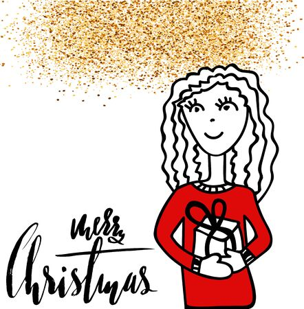 Christmas card with shining gold powder. Hand drawn girl with gift box. Handdrawn calligraphy inspiration