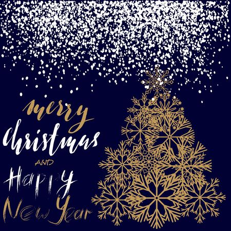 newyears: Christmas and Happy New Year 2017 handwritten lettering design. Gold Christmas tree from snowflakes. Vector illustration. EPS10 Illustration