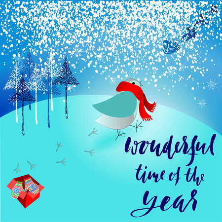 dissatisfied: Santa Claus brought a bad gift. Angry bird dissatisfied Christmas gift. A pair of mittens. Christmas lettering. Wanderful time of the year