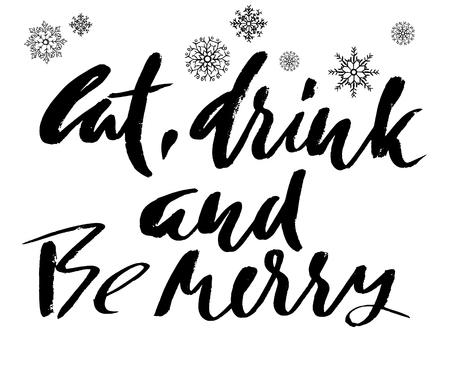 pareja comiendo: letras de cartel blanco y negro Coma la bebida y sea feliz.