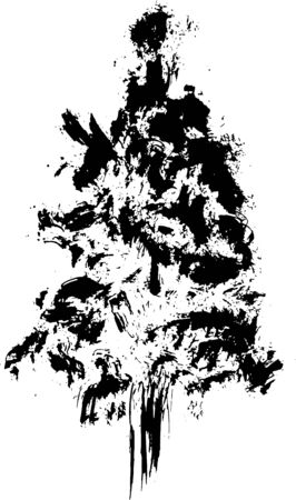 grunge tree: Hand drawn textured fir tree vector illustration. Silhouette of the grunge pine tree.
