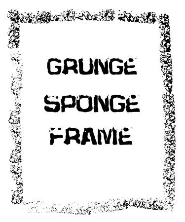 black textured background: Grunge black sponge frame. Textured vector background