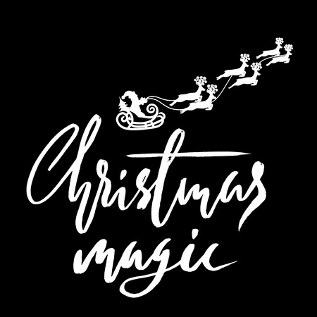 Silhouette Sleigh of Santa Claus and Reindeers. Christmas Lettering. Vector illustration.