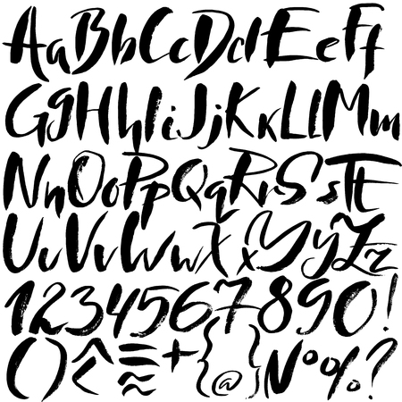 sloppy: Hand drawn font made by dry brush strokes. Grunge style alphabet. Handwritten font. Vector illustration Illustration