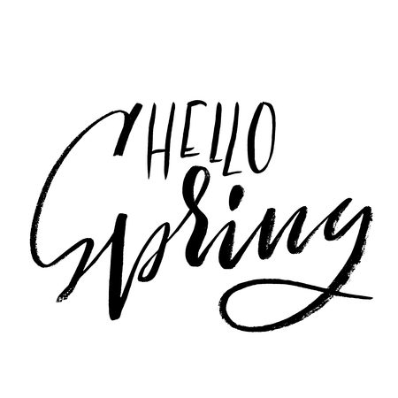 Hand lettered style spring design on a white background. Hello spring hand drawn calligraphy letters. Vector illustration Illustration