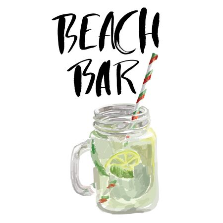 Hand drawn phrase beach bar isolated on the white background. Hand lettering calligraphy greeting card or invitation for summer party template and other seasonal Summer holiday. Vector texture