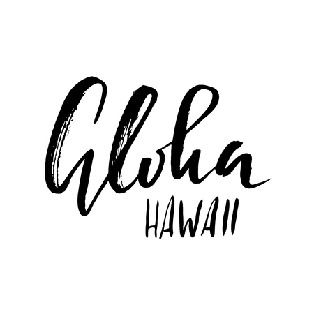 Conceptual hand drawn phrase Aloha. Lettering design for posters, t-shirts, cards, invitations, banners. Vector illustration Illustration