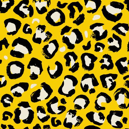 Vector illustration leopard print seamless pattern. Yellow hand drawn background