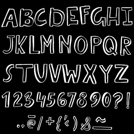 Hand drawn font made by dry brush strokes. Grunge style alphabet. Handwritten font. Vector illustration Illustration