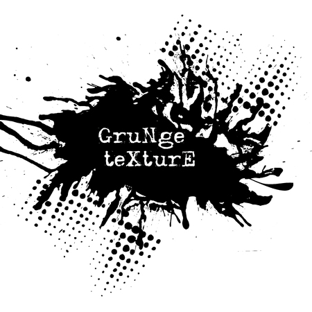Splatter Paint Texture. Grunge background. Black Blot of Ink. Place for Text. Grungy Effect Stump. Vector illustration