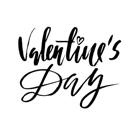 saint valentine s day: Vector Valentines Day Vintage Card With Lettering.