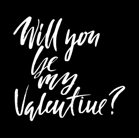 saint valentine s day: Vector Happy Valentines Day Vintage Card. Will you Be My Valentine Lettering