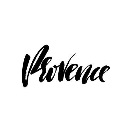 provence: Hand lettering Provence. France, city typography. Modern dry brush calligraphy