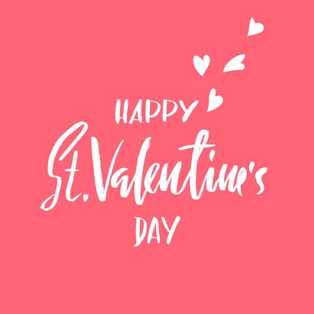 Vector Happy Valentines Day Vintage Card With Lettering.