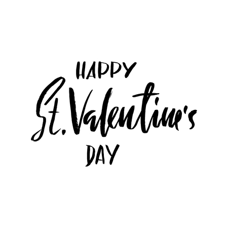 saint valentine s day: Vector Happy Valentines Day Vintage Card With Lettering.
