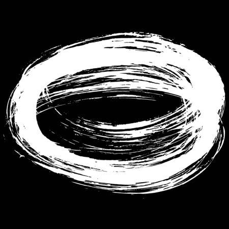 dry brush: Grunge vector frame. Hand drawn dry brush texture. Abstract round shape.
