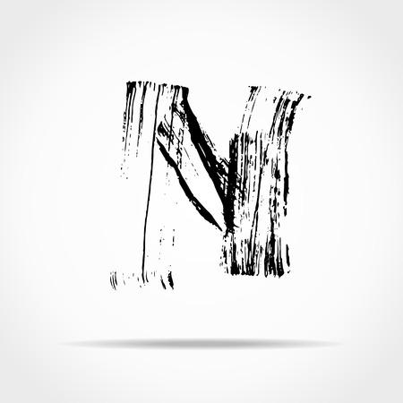 dry brush: Letter N. Handwritten by dry brush. Rough strokes font. Vector illustration. Grunge style alphabet.