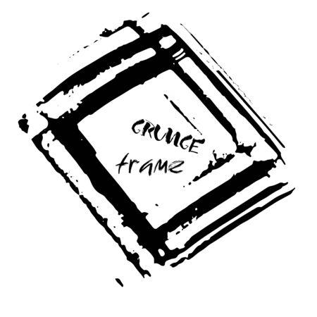 dry brush: Grunge vector frame. Ink dry brush background. Hand drawn texture. Vector illustration. Illustration