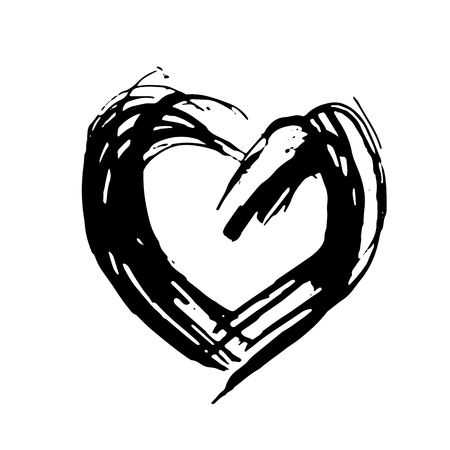 Hand drawn vector heart. Dry brush ink illustration. Grunge rough texture.