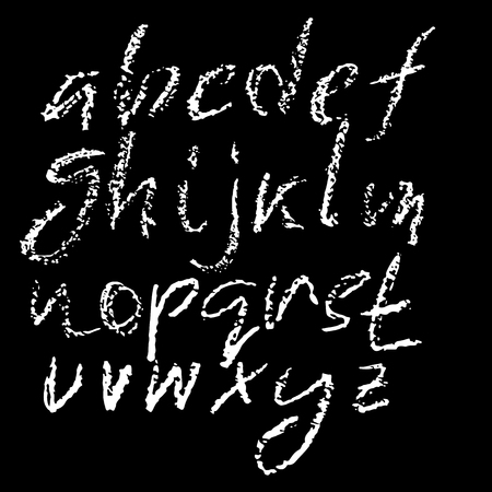 Handwritten chalked alphabet. Imitation texture of chalk. Modern hand drawn alphabet. Isolated letters.
