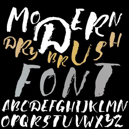 sloppy: Hand drawn font made by dry brush strokes. Grunge style alphabet