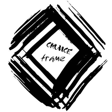 dry brush: Grunge vector frame. Ink dry brush background. Hand drawn texture. Vector illustration