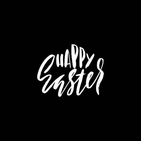 eroded: Happy Easter lettering for greeting card. Vector hand drawn illustration. Grunge inscription. Handwritten design.