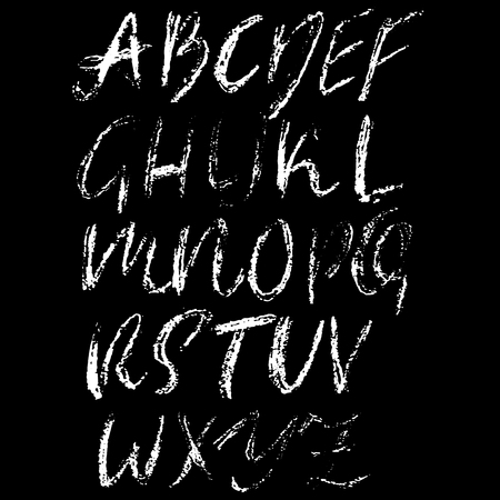 Handwritten vector chalked alphabet. Imitation texture of chalk. Modern hand drawn alphabet. Isolated letters